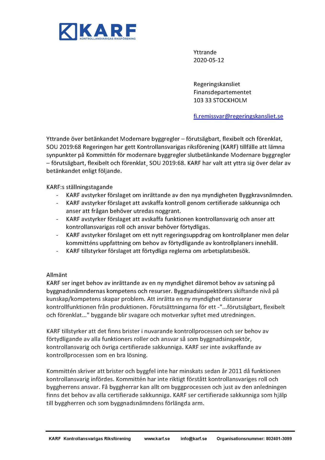 KARF - Remissvar betänkandet_Sida_1