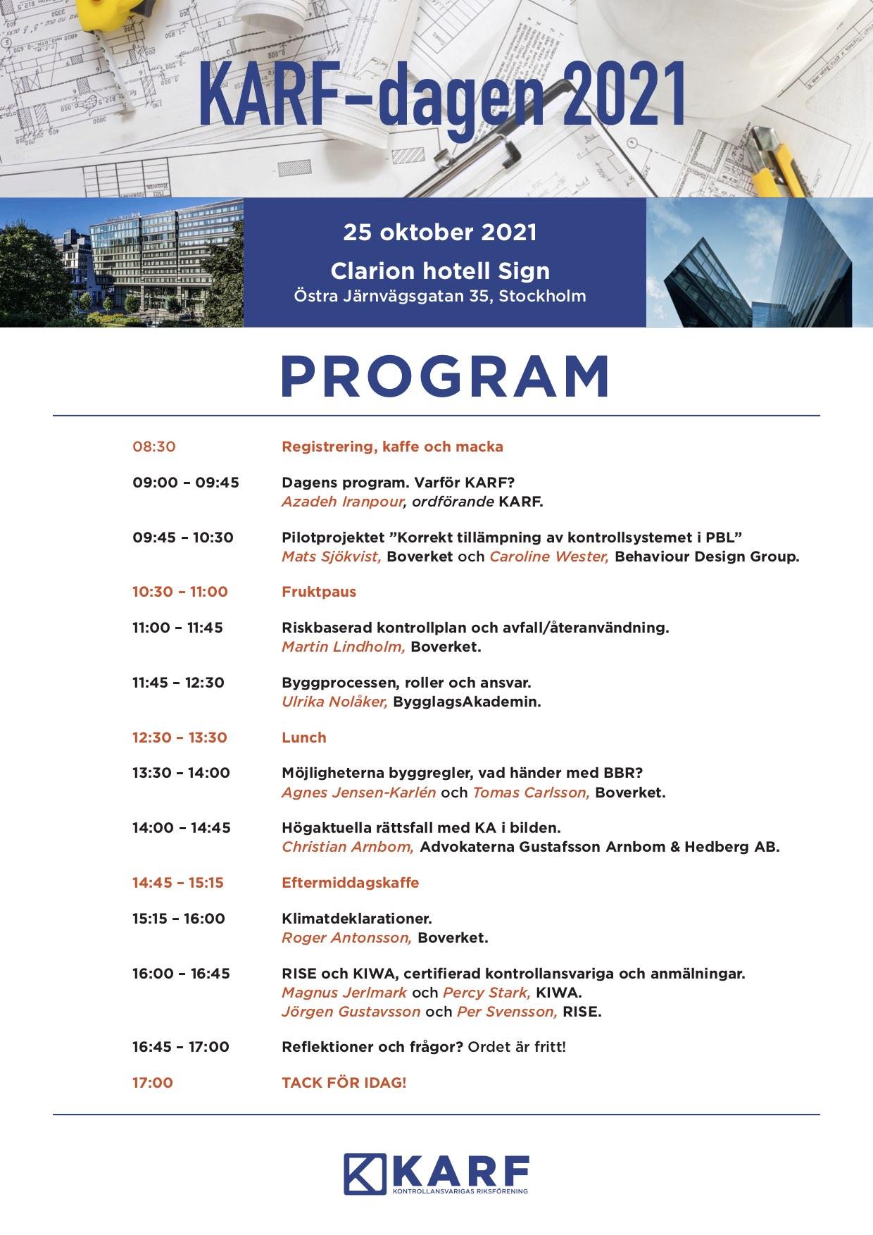 Program KARF-dagen 25 oktober 2021